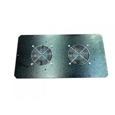 Блок малошумных вентиляторов в крышу настенного шкафа 2х220В с термостатом