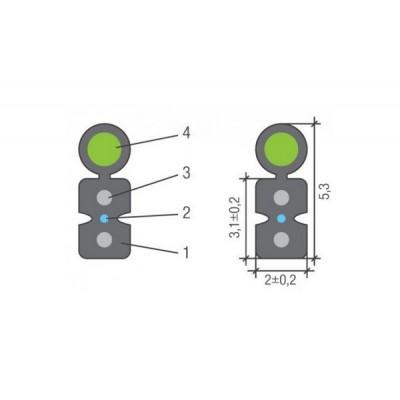 FRP Drop-кабель оптоволоконный черный для внешней прокладки с двумя волокнами G.657.A и вынесенным несущим элементом из стальной проволоки диаметром 1мм